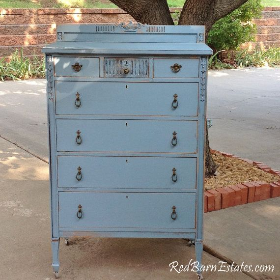FRENCH BLUE Painted DRESSER The Shabby Chic by RedBarnEstates