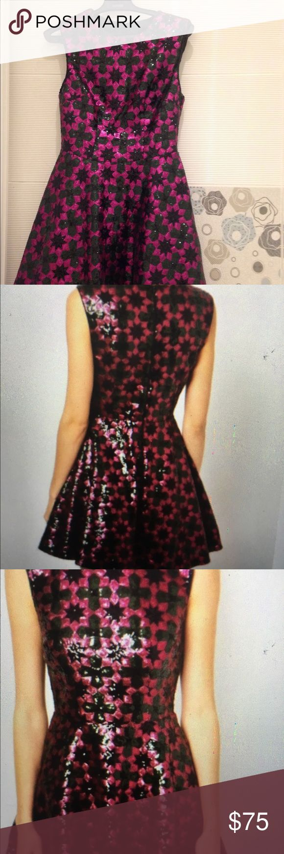 ASOS sequin dress Brand new sequin dress fit and flare with beautiful geometric pattern with fuschia and dark green colors ASOS Dresses Mini