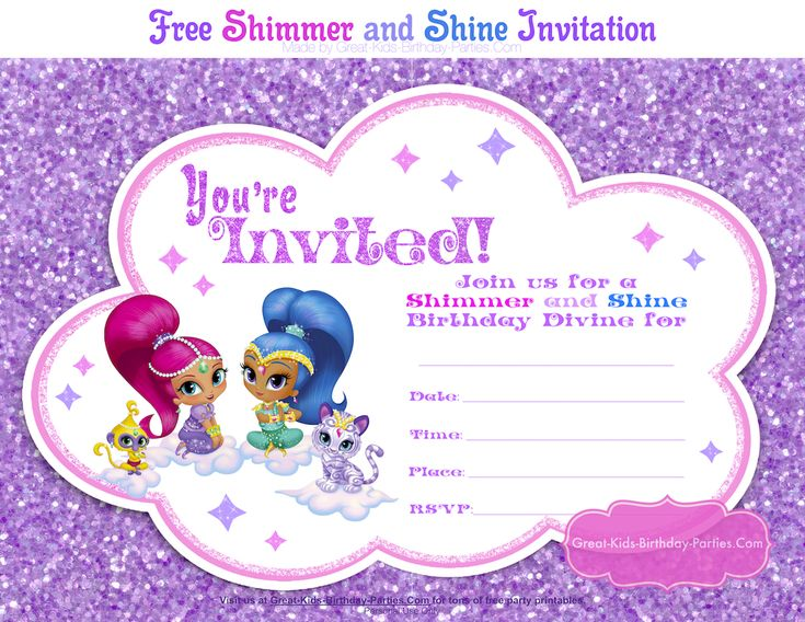 Shimmer and Shine Party Invitation Template