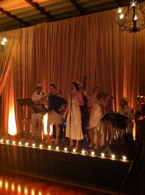 Great Custom built Vaudeville footlights for a jazz band at a wedding at Bel Air Bay Club