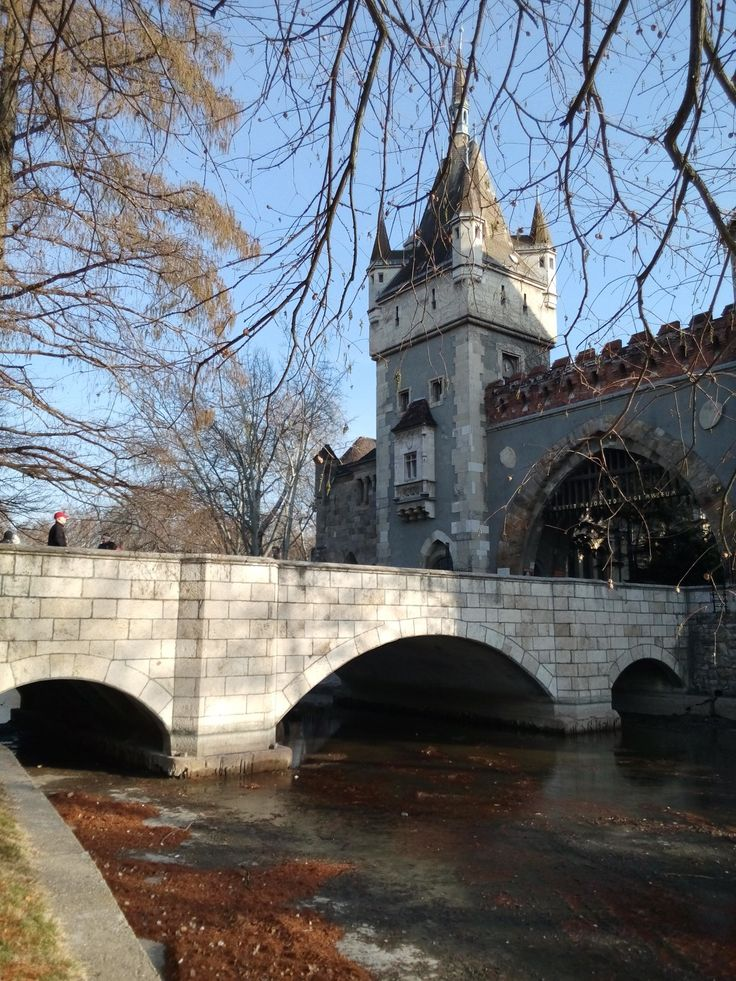 The Lions' bridge. Vajdahunyad Castle. Budapest