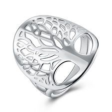 925 Sterling Silver Filled tree of Life Ring Women Fashion Jewelry Size M-S