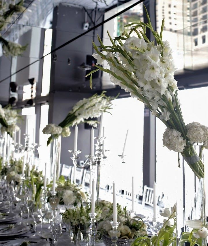Absolutely Gorgeous Wedding Flowers Banquet style table seating