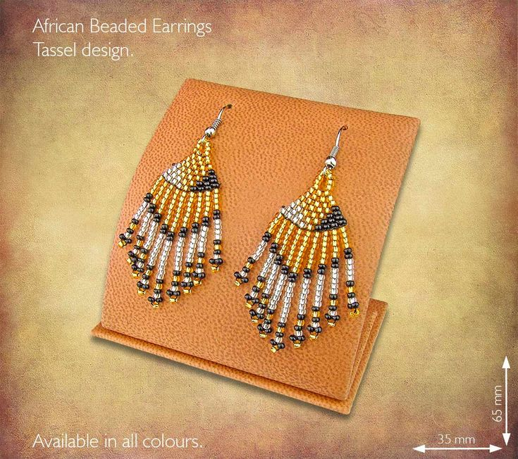 African Beaded Earrings - Tassel design. Handmade in South Africa by highly skilled Zulu Beadworkers. Wide range of African Beaded Jewelry available on our website www.earthafricacurio.com