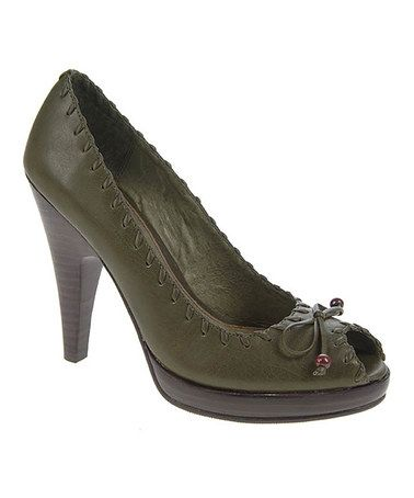 Loving this Army Green Bristol Burnished Glace Leather Pump on #zulily! #zulilyfinds