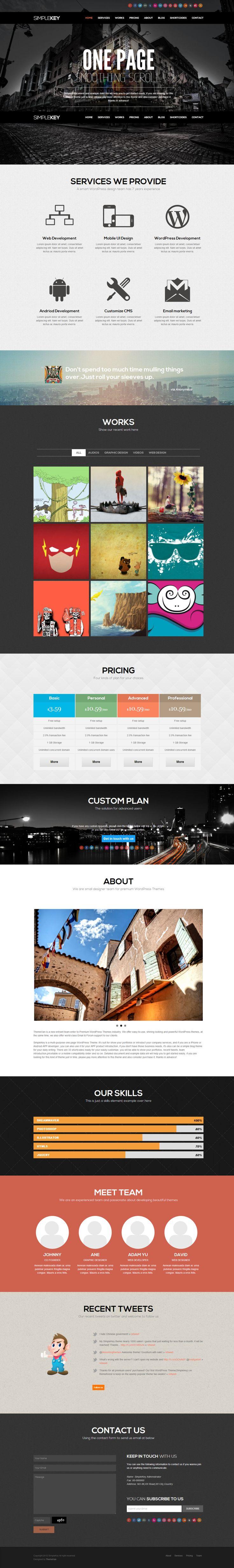 SimpleKey - One Page Portfolio #WordPress Theme http://themeforest.net/item/simplekey-one-page-portfolio-wordpress-theme/3729774?ref=wpaw #wp #web #design