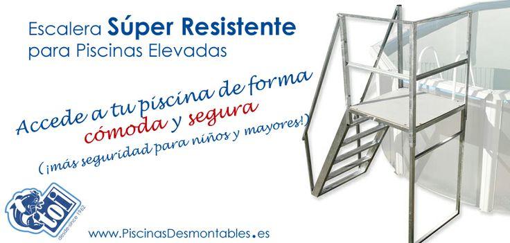 Escaleras s per resistentes para piscinas desmontables for Escalera piscina desmontable