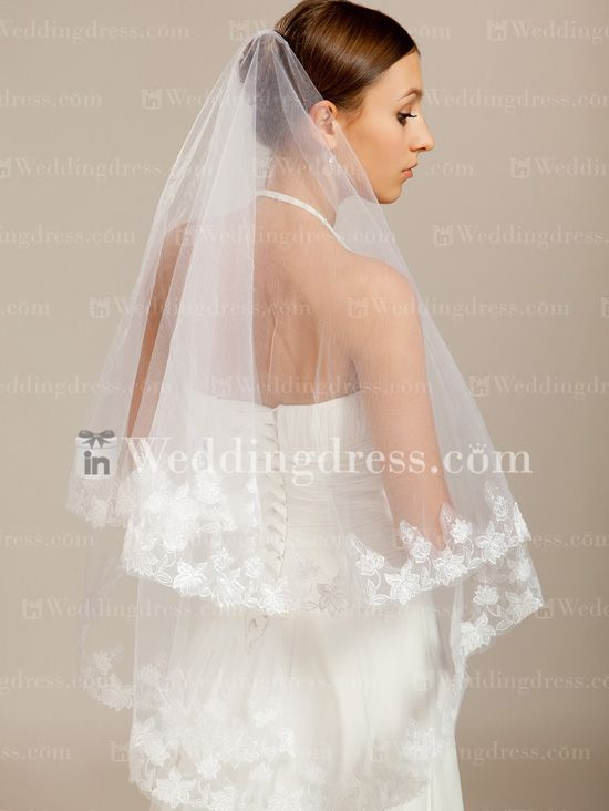 Single Tiered Vintage Wedding Veil VE49N