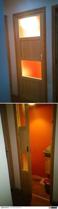 Porte coulissante des toilettes par JoHannes - Salut ami(e)s xylophages, Pour mon premier post, je vous présente la porte de mes toilettes (enfin! fini la convivialité bonjour la tranquillité).Réalisée en épicea savoyard, verre dépoli à l'acide et, l'avantage d'une porte suspen[...]