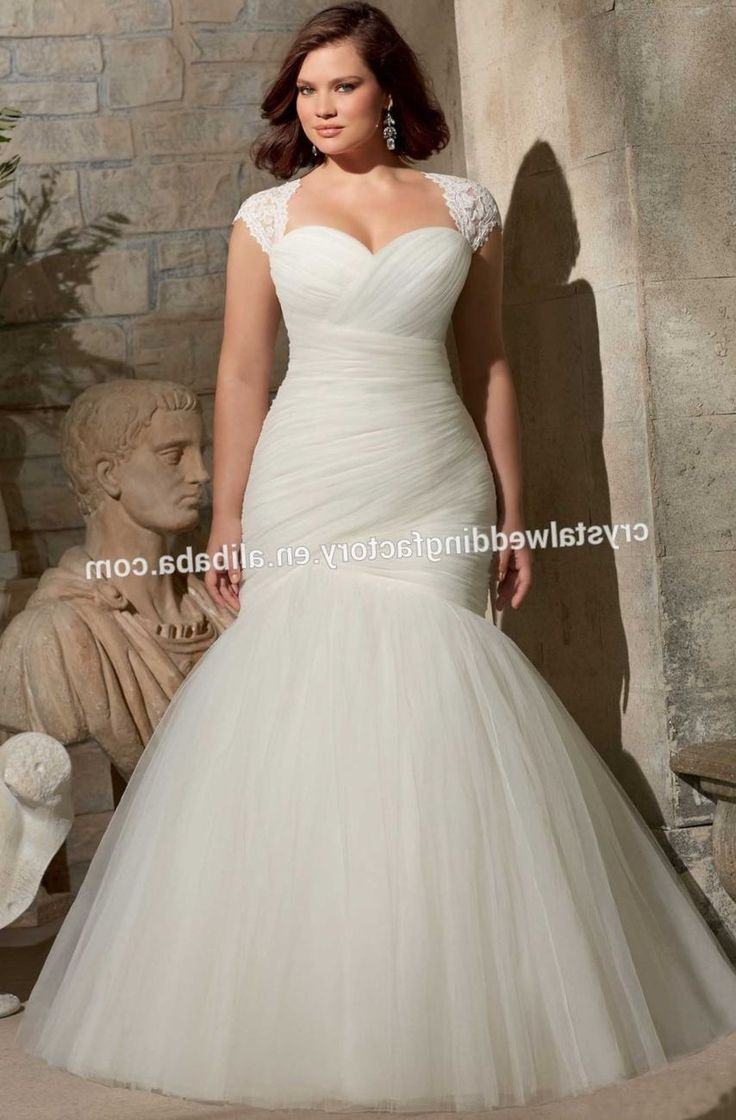 Plus Size Wedding Dresses For Fat Women Cap Sleeve Sweetheart Tulle Mermaid Lace Up Open Back Brides Y Vestido De Noiva 2016 Ady