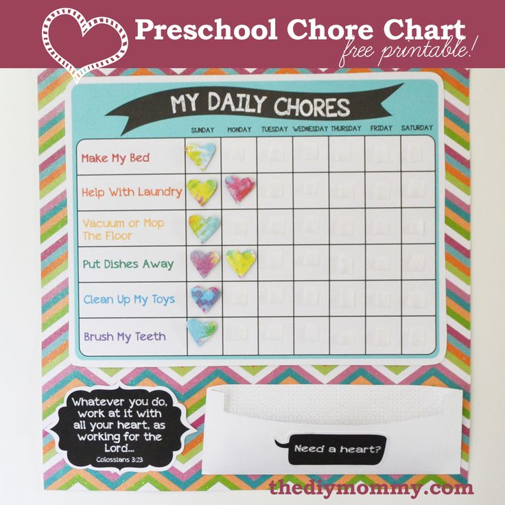 Make A Preschool Chore Chart - Free Printable ♥ CUTEST one of these, I have seen so far, I am in LOVE with the little hearts!!