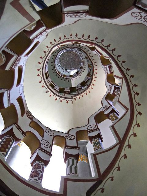 10 April 2011. Up the down stair. Bory Castle staircase (Castle was the creation…