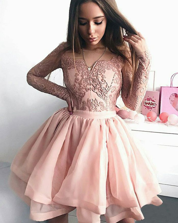 c6abbe5199 Sheer Tulle Skirt Pink Short Homecoming Dress with Long Lace Sleeve ...