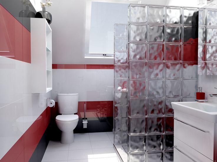 A Polcolorit Alaska Bianco padlólap és az Alaska Bianco csempe egységes képet alkot a fürdőszoba fehér berendezésével. Az élénk színekben pompázó fürdőszoba látványát a Polcolorit Alaska Red és az Alaska Grafit csempéknek köszönhetjük. Az üvegtéglával épített zuhanyzó kiváló megoldást nyújt arra, hogy a fal ne zárja el a fényt a fürdőszobától, az intimitás mégis megmarad. Az üvegtéglák többféle mintával és színben kaphatók. www.gsv.hu