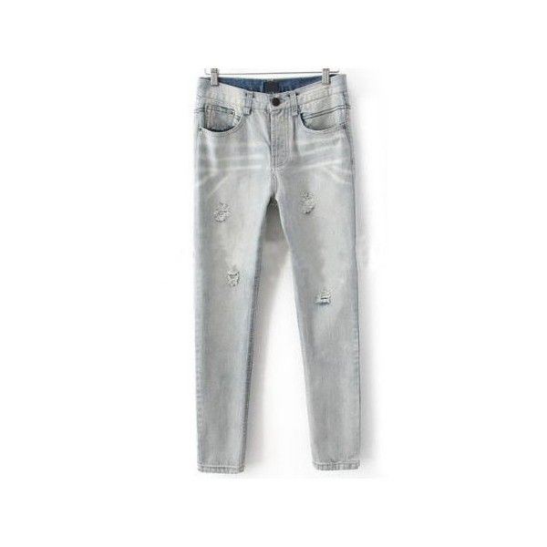 Light Grey Denim Rivets Ripped Tapered Long Pant ($38) ❤ liked on Polyvore featuring pants, denim, jeans / pants / leggings, sheinside, denim capri pants, tapered pants, denim capris, distressed denim capris and cropped pants