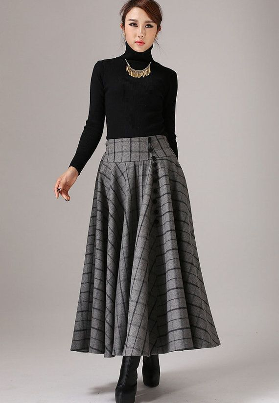 ethnic gray skirt maxi wool skirt plaid winter skirt (770T)
