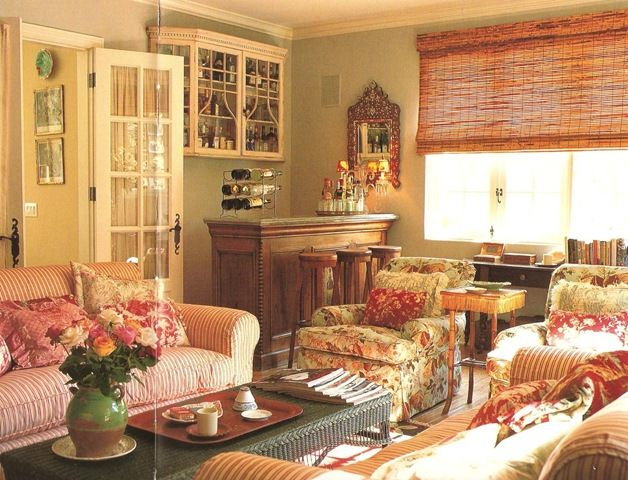 Lynn Von Kersting Cottage living room.  Ticking stipes and toiles are always beautiful