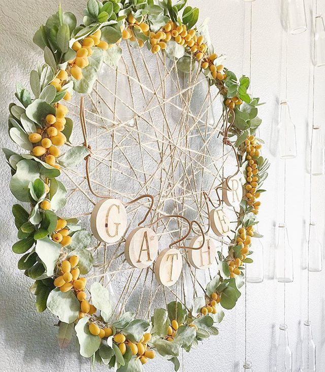 We are loving all the inspiration you are sharing for #DIYitsFallOhMy 🍂🍁 Keep those homemade banners and wreaths coming! I made this wreath with a hula hoop, twine from @michaelsstores, dried greenery from a bouquet, some palm tree fruit from my front yard and a 'gather' banner from Target 🍂🍁🌿 #fallwreath #fallintofall #decorate4theseason #thefallfarmhouse #bhgcelebrate #madewithmichaels #wednesdaywooddecor #inspireushomedecor #wednesdaywalldecor