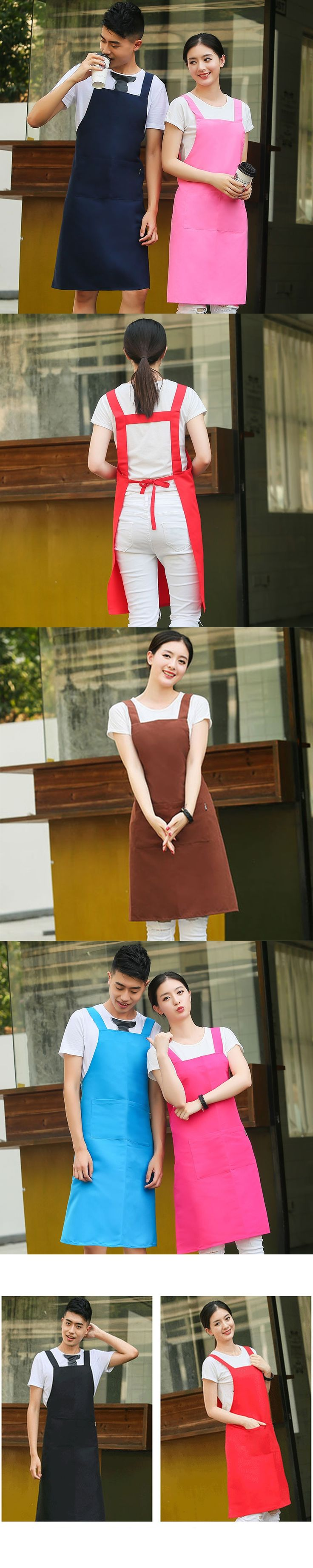 Fashion Men And Women Restaurant Kitchen Waiter Work Overalls Cooking Baking Coffee Shop Simple Waterproof Apron logo Customize