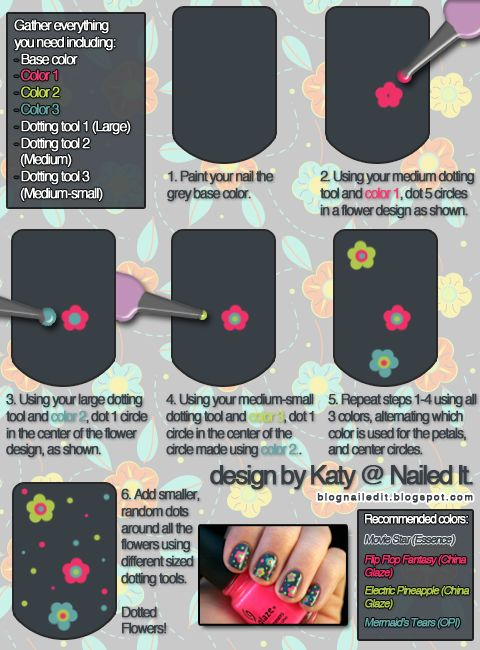 Flowers Nail Art Turorial Using Dotting Tools