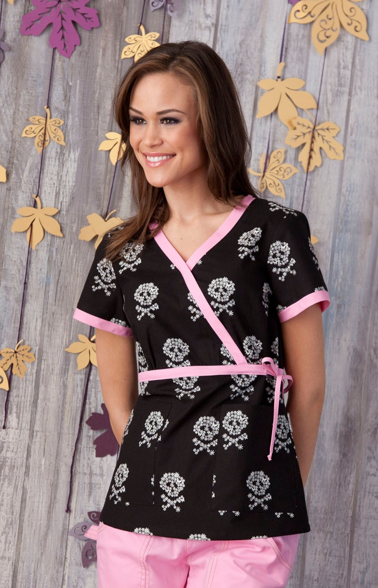Skull and bones scrubs...so cute! I wish we could wear cute scrubs at work :(