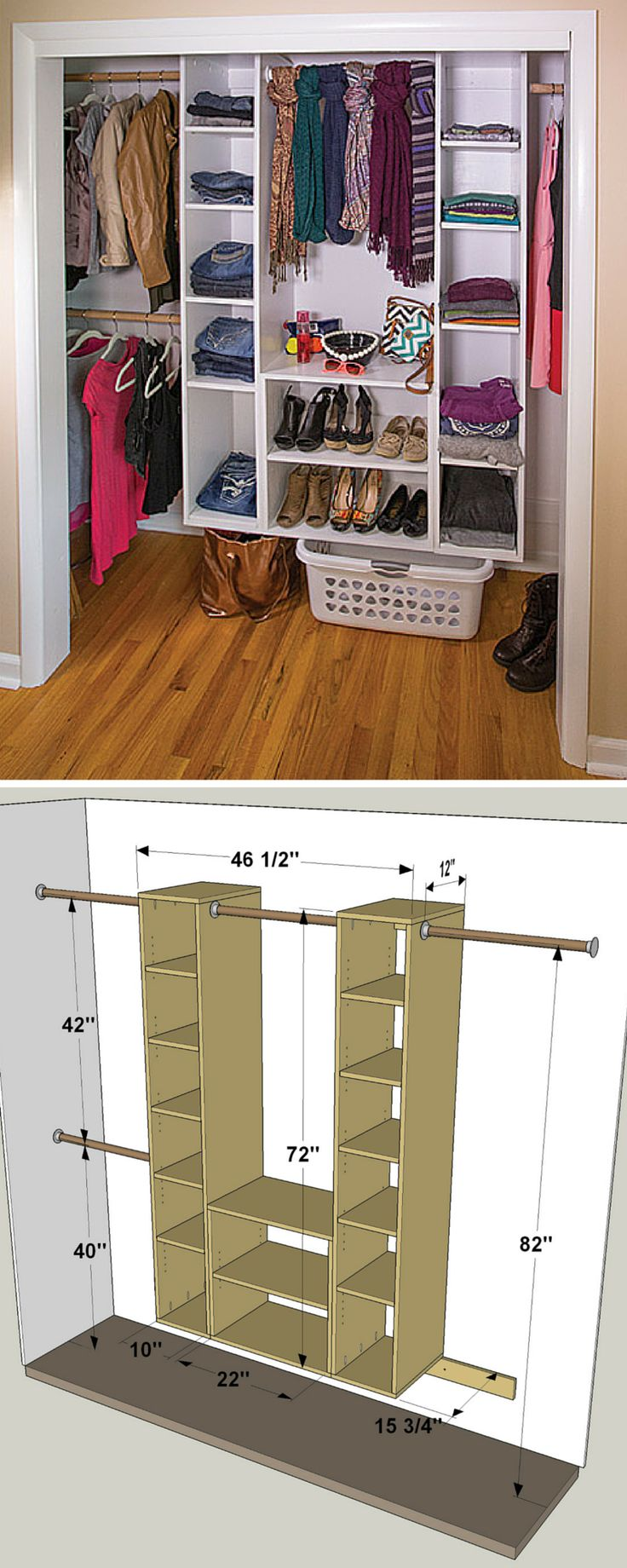 This organizer makes it easy to turn a chaotic closet into a clean, organized space. It's made up of a couple of basic pieces: Two towers with adjustable shelves, and wide cubby. You can build it as shown here or, because it's modular, arrange it in a different way to best suit your storage needs.