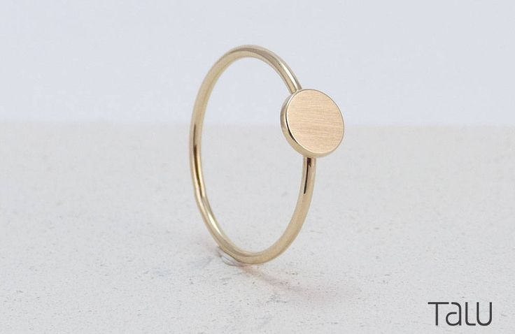 Yellow Gold Disc, Dainty Jewelry, 14k Solid Gold, Everyday Gold Ring, Special Gift, Rock Style Ring, Gift For Her, Gold Dot Ring by TALUrockngold on Etsy