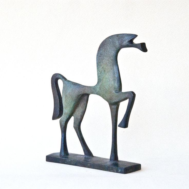 Metal Horse, Cast Bronze Metal Sculpture, Ancient Greek Geometric Art, Horse Lover Gift, Equine Home Decor, Museum Replica, Unique Art Gift