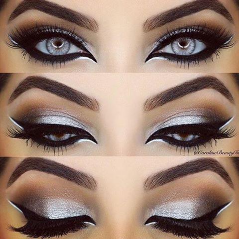 Gorgeous eye makeup look for Christmas. Love the lashes and brows too! #Christma…