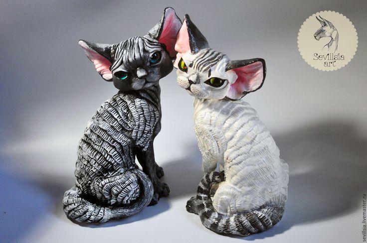 Купить Пикода. Кошечка девон рекс - оливковый, девон рекс, кошка, статуя кошки