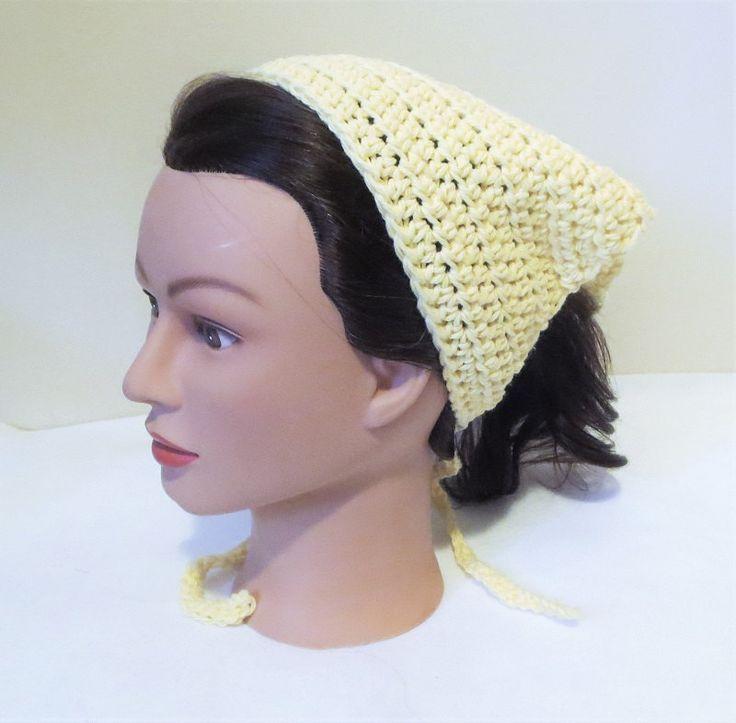 Yellow Crochet Bandana, Kerchief, Tie On Bonnet, Head Kerchief, Cotton Crochet Head Covering. by TiStephani on Etsy