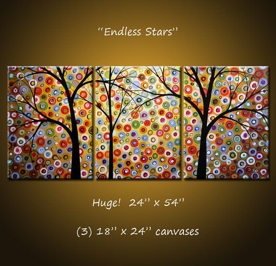 """Asmak için büyük bir Triptych Orijinal Büyük Soyut Resim Modern Çağdaş Peyzaj Ağaçlar ... Hazır ... 24 """"x 54"""" ... """"Sonsuz Stars"""""""