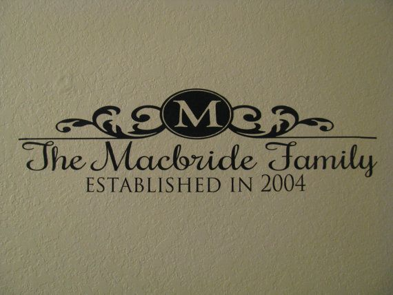 family name monogram custom established date wedding gift vinyl lettering wall decal small