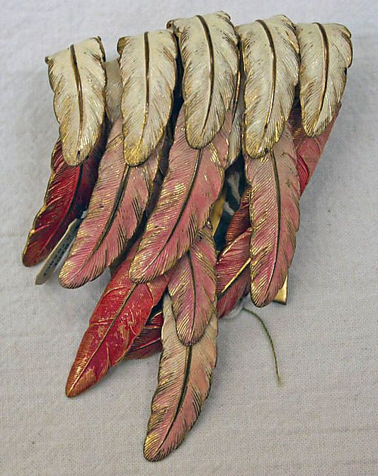 Marcel Rochas (attributed to), Clip, feathers and metal, France, ca. Late 1940s.