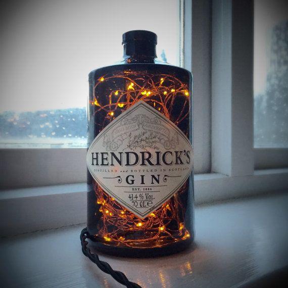 Hendricks Gin Lamp Steampunk Lamp Steampunk Light Bottle Lamp Bottle Light Copper Fairy Lights Lamp Vintage Lamp Hipster lamp