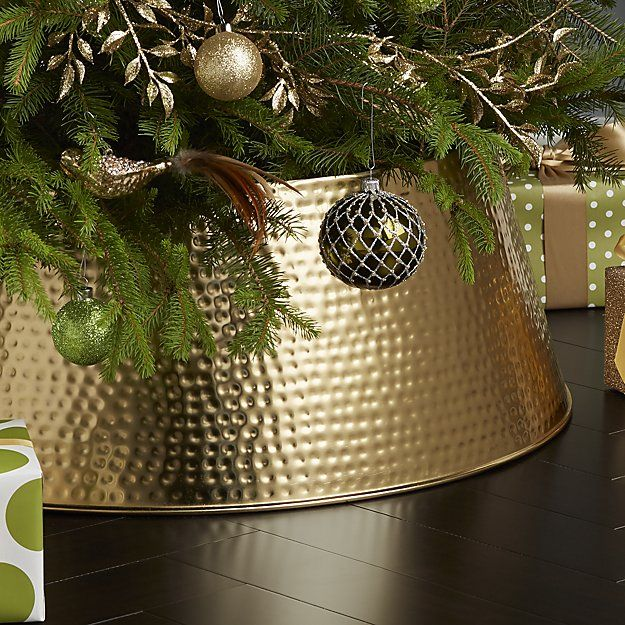 Hammered Brass Tree Collar For Christmas Christmas Tree Base Tree Collar Decorating With Christmas Lights