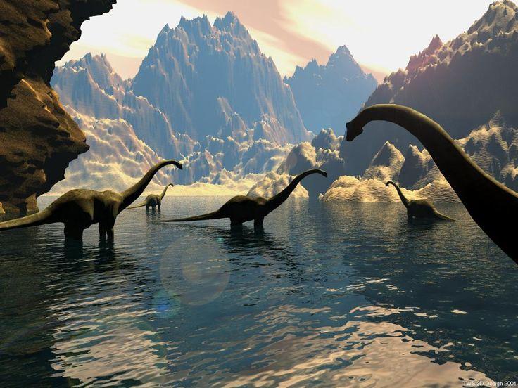 Sauropods Wading Wallpaper  ~ http://www.dinopit.com
