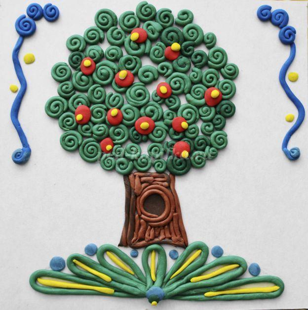 Пластилинография Деревья. Мастер-класс с фото для детей от 7 лет