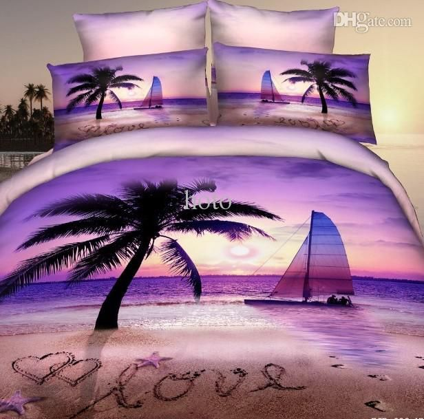 Wholesale 3d Purple Beach Palm Tree Bedding Set For Queen