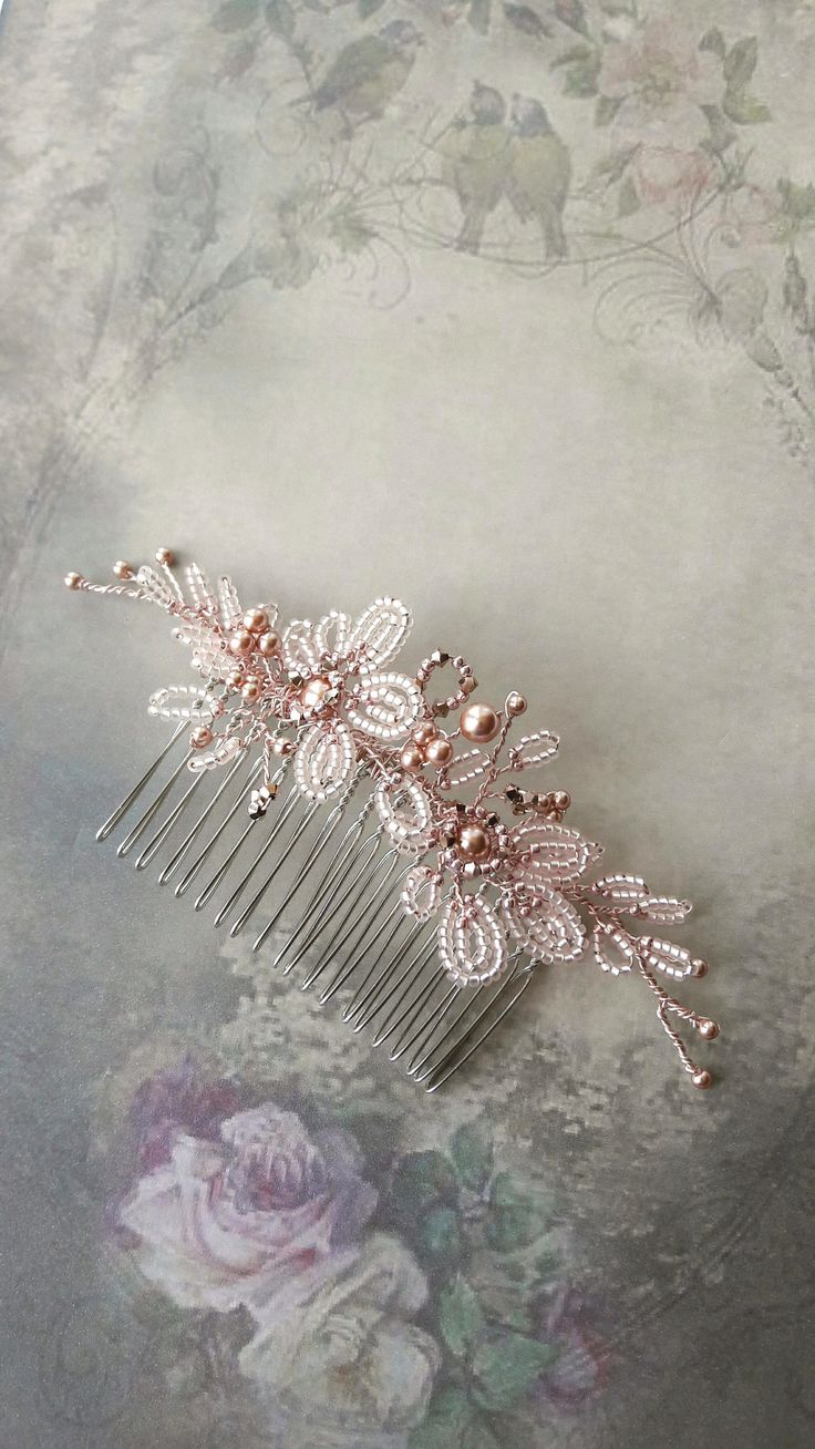 Rose gold wedding hair accessories - Rose Gold Blush Pink Flower Bridal Hair Comb Pearl Crystal Wedding Hair Accessory Comb With Swarovski Crystals French Beaded Flower Comb