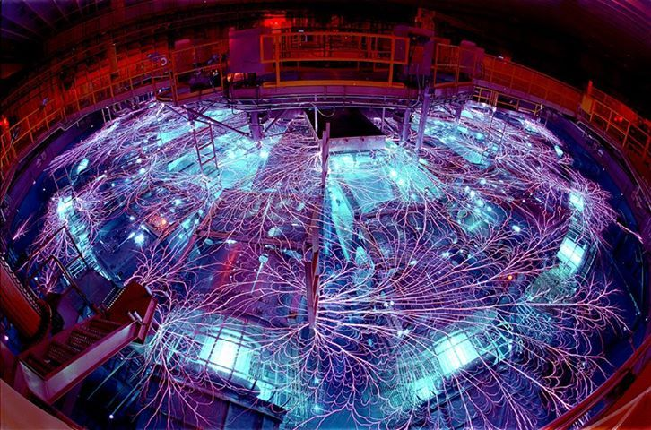 This is the Z Machine, part of the Pulsed Power Program at the Sandia National Laboratories in Albuquerque, US. It's the most powerful and efficient laboratory radiation source on Earth. Read more: http://1.usa.gov/qNilGg