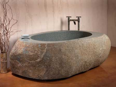 Natural Stone Bathtub is an interesting bathtub designed by Stone Forest. They create hand carved granite sculptures which combine the elegant simplicity of Japanese style with contemporary design.