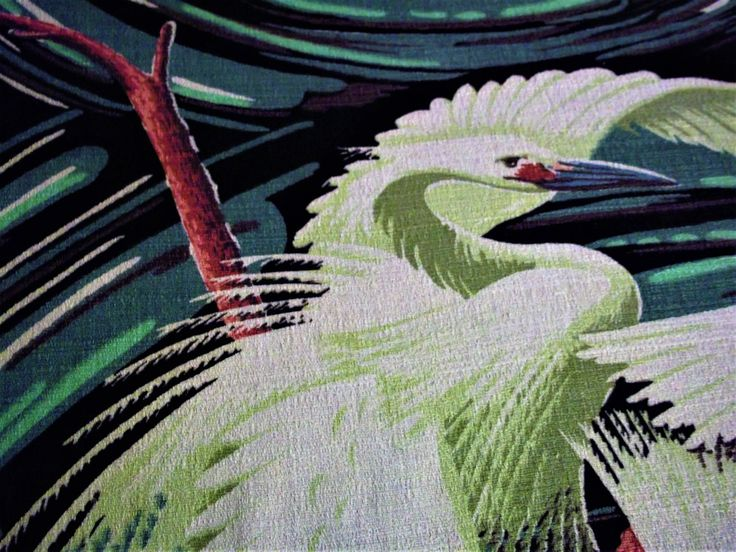 Vintage seltene Art-deco-exotische Vögel üppige tropische Mitte Jahrhundert Borkenkrepp Stoff Reiher oder Heron unberührten Panel Überrest aus Baumwolle von franklyScarlett auf Etsy https://www.etsy.com/de/listing/488942688/vintage-seltene-art-deco-exotische-vogel