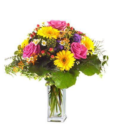 Summer Joy: This majestic blend of flowers contains gerberas, roses, mini carnations and daisies.