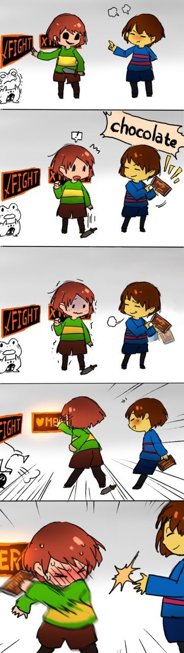 chara, frisk, and undertale 이미지《now we know how to stop Chara from killing XD