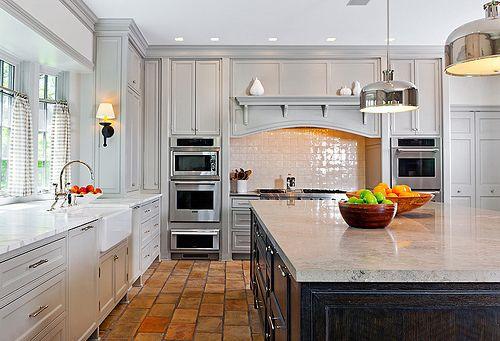 Kitchen Paint Colors - Pale Grey paint, light granite, white cabs