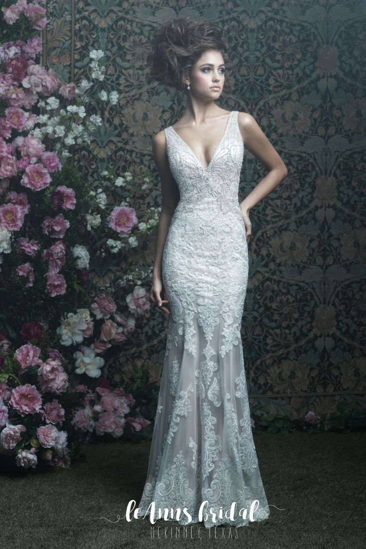 Allure Couture C408 - A silky slip dress is topped with elegant lace and studded with crystals.