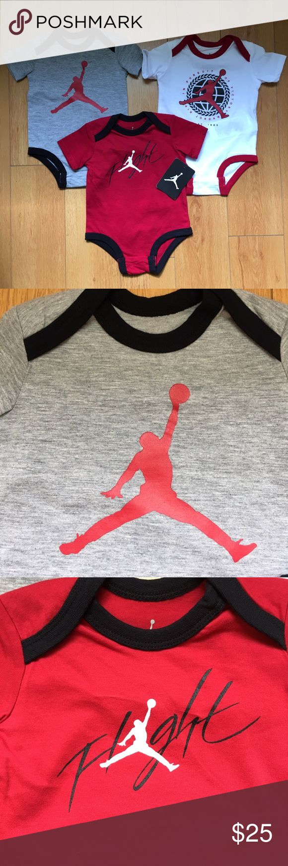NWT Nike Jordan Baby Bodysuits NEW WITH TAGS Nike Jordan 3-Piece Baby Bodysuits.  🔹Soft 100% Cotton fabric 🔹Gray, Red, White with Screen Printed designs on front and contrasting trim. 🔹Bottom snaps for easy diaper changes 🔹These are sold as a set, not individually  👍🏻Top Rated Seller 👍🏻Fast Shipper 🚫No Trades  Instagram: @effortless_beauty_boutique Jordan One Pieces Bodysuits