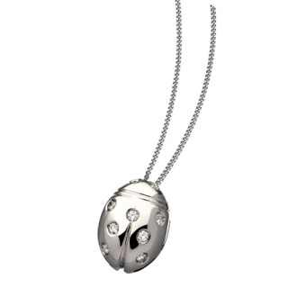Ladies' Necklace in 18Kt White Gold  9 diamonds, total diamond weight ct 0.10 by Flores Gioielli Personal Jewels