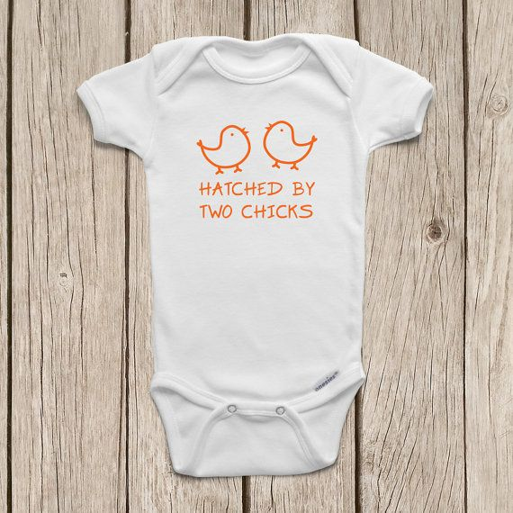 LGBT Gift – Lesbian Gift – Hatched by Two Chicks ONESIES ® Brand Bodysuits by M… – Baby J